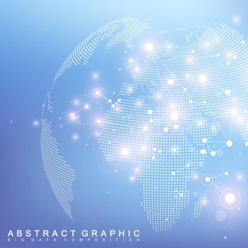 Rede e de intercâmbio de dados sobre a terra do planeta no espaço Uma comunicação gráfica virtual do fundo com o globo do mundo ilustração stock