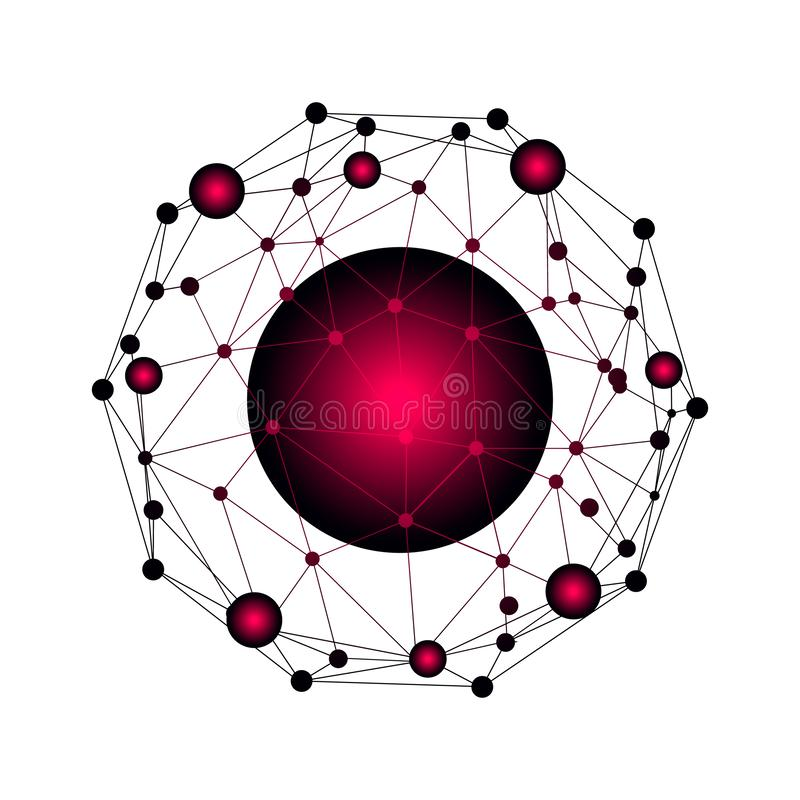 Rede e de intercâmbio de dados sobre a terra do planeta no espaço Uma comunicação gráfica virtual do fundo com o globo do mundo ilustração royalty free