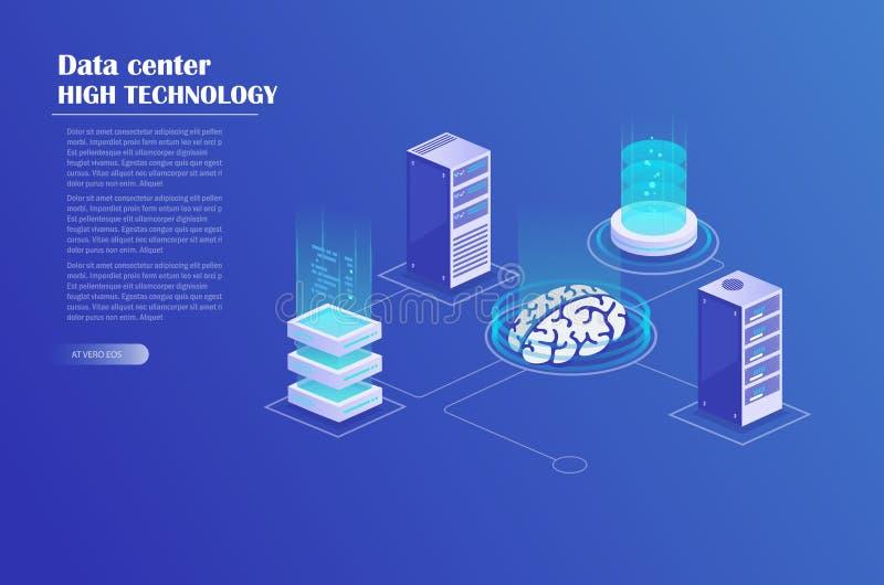 Rede e processo de dados grande ilustração stock
