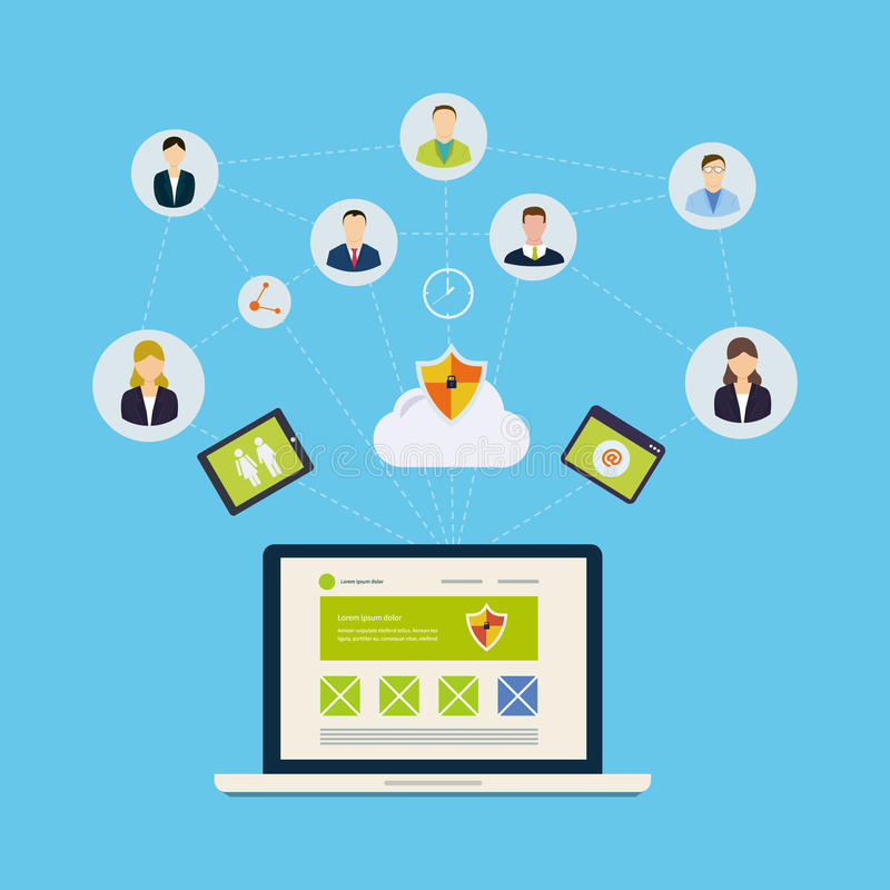 Rede e trabalhos de equipa sociais ilustração do vetor