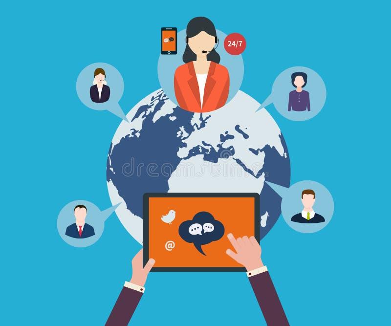 Rede e trabalhos de equipa sociais ilustração royalty free
