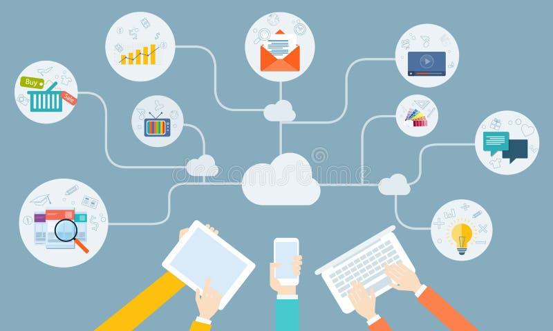 Rede em linha do negócio do vetor na aplicação do dispositivo ilustração do vetor