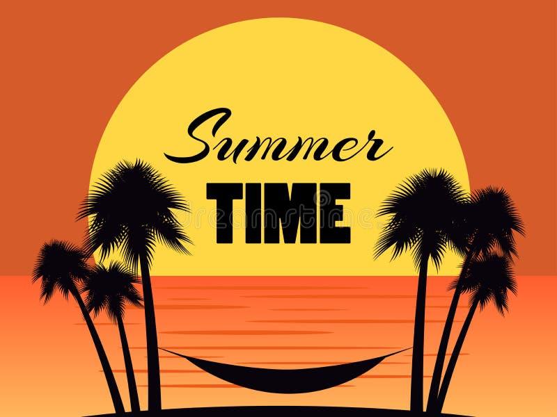 Rede entre palmeiras em um fundo do por do sol Horas de verão, férias da praia, miami Vetor ilustração stock