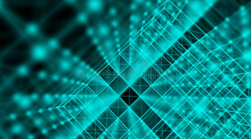 Rede futurista do mundo da conexão do cubo do cyber da tecnologia, computador, cabos óticos virtuais da fibra, conexão da fibra ilustração stock