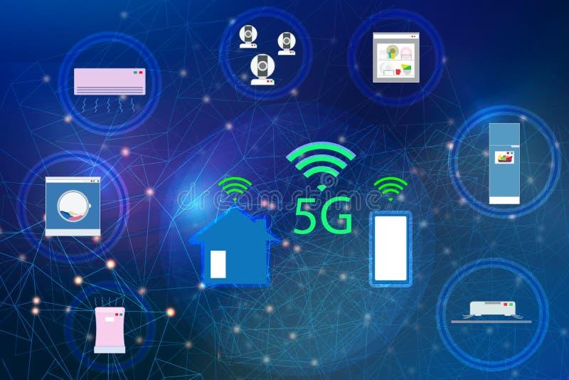 rede 5G e Internet dos dispositivos sem fios Conecte a casa esperta e os dispositivos elétricos, conceito de uma comunicação com ilustração royalty free
