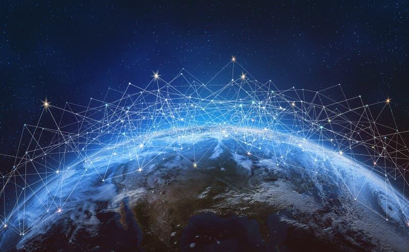 Rede global através da terra do planeta Blockchain fotos de stock