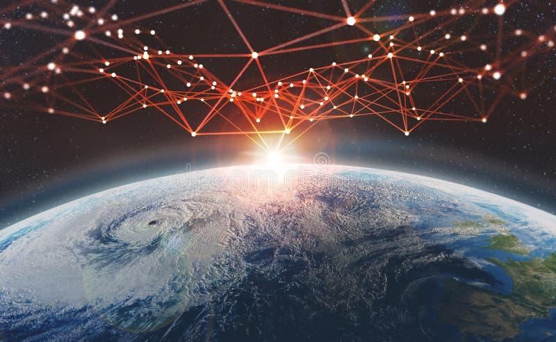 Rede global através da terra do planeta Conceito grande dos dados Blockchain ilustração royalty free