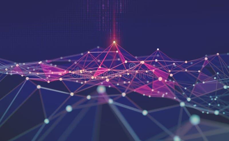 Rede global Blockchain ilustração 3D Redes neurais e inteligência artificial Fundo tecnológico abstrato ilustração royalty free