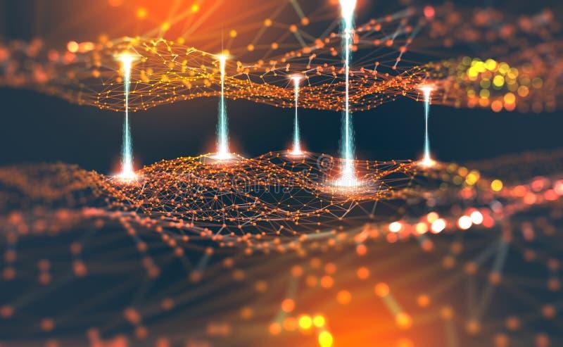 Rede global Blockchain Ilustração da malha 3D do polígono Redes neurais e inteligência artificial