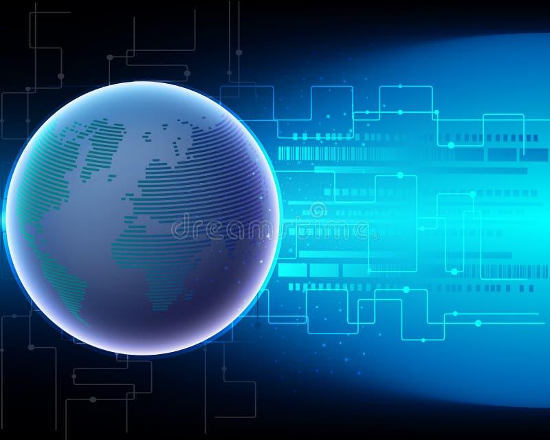 Rede global c da transformação de sistema do Internet do cyber do mapa do mundo ilustração royalty free