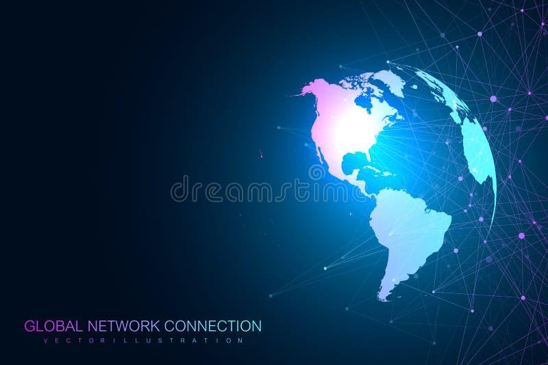 Rede global com mapa do mundo Fundo abstrato do espaço infinito do vetor Contexto da perspectiva Dados de Digitas ilustração royalty free