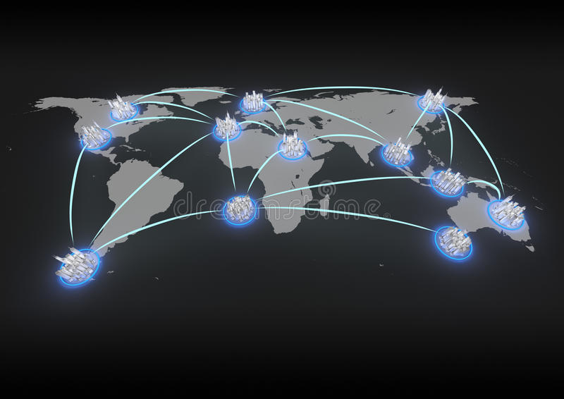 Rede global da cidade ilustração do vetor