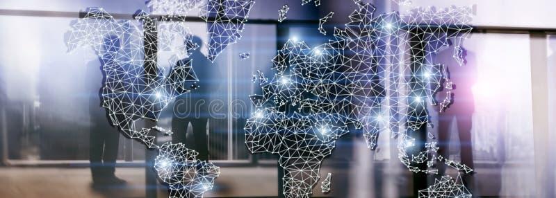 Rede global da exposição dobro do mapa do mundo Telecomunicação, Internet internacional do negócio e conceito da tecnologia foto de stock