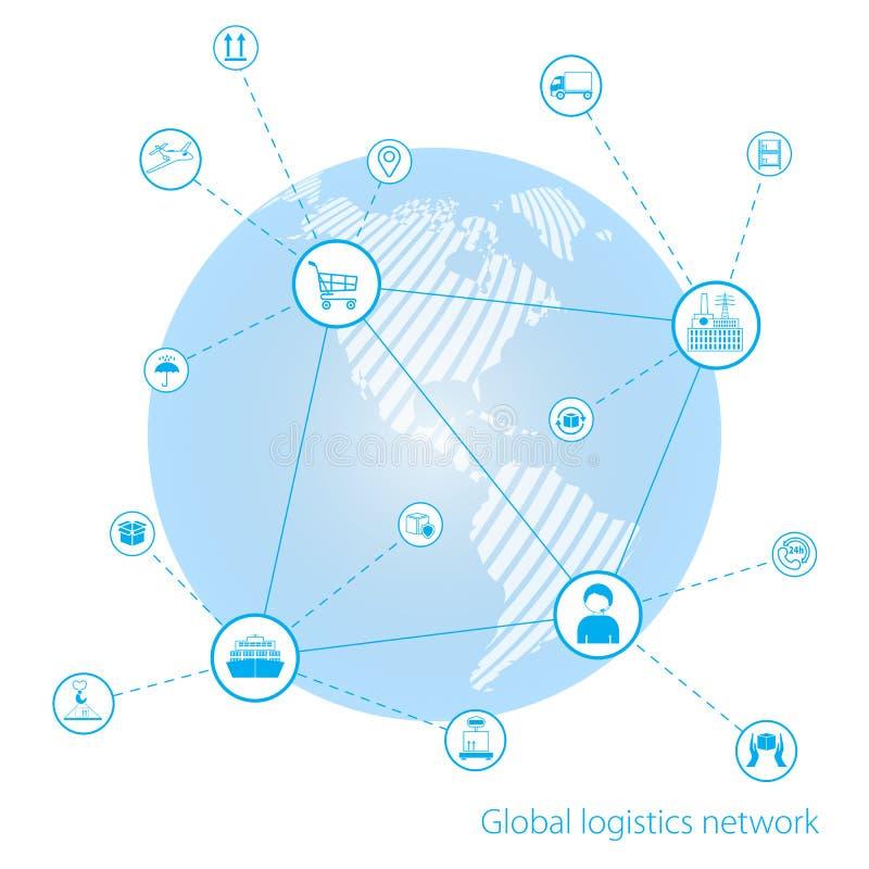 Rede global da logística Conexão global do sócio da relação da tecnologia da conexão de negócio global Mapa do mundo similar bran ilustração do vetor