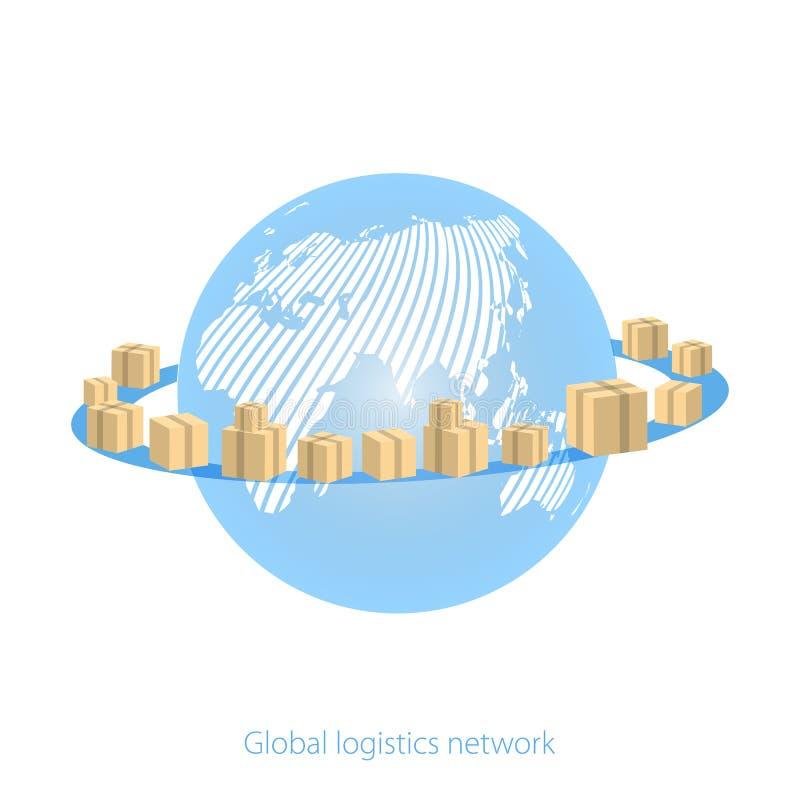 Rede global da logística Enterre o globo cercado por caixas de cartão com bens do pacote em um fundo branco Logística global do m ilustração do vetor