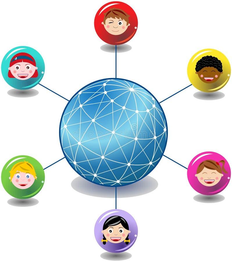Rede global das crianças ilustração royalty free