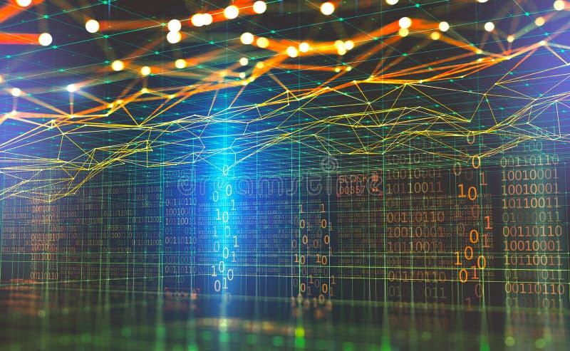 Rede global dos dados grandes Blockchain ilustração 3D Redes neurais e inteligência artificial Cyberspa tecnologico abstrato ilustração royalty free