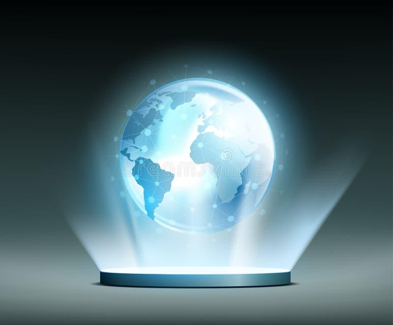 Rede global hologram ilustração royalty free