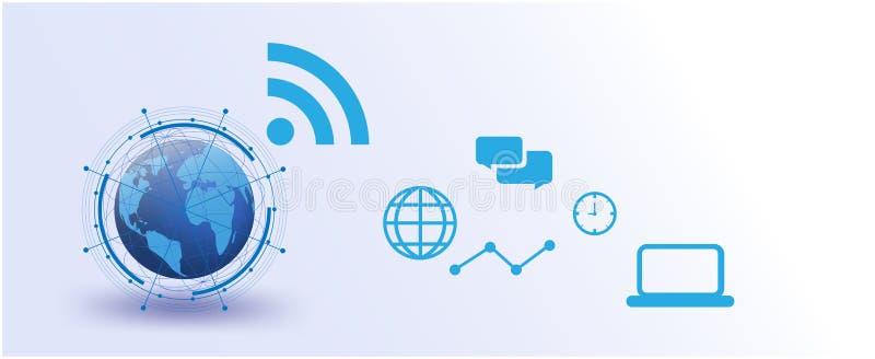 Rede global, Internet do vetor das coisas futurista, sistema, conexões, meios sociais futuristas dos trabalhos em rede dados de u ilustração do vetor