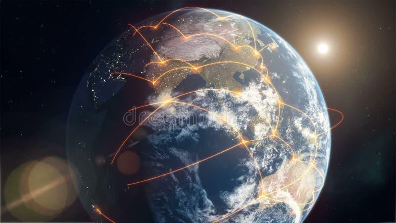 Rede global - laranja ilustração royalty free