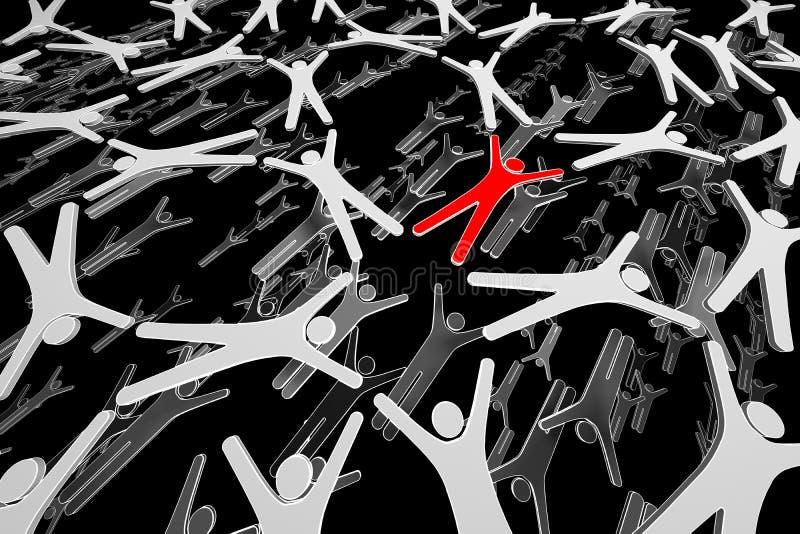 Rede humana. Povos no movimento. Conectado. 3d ilustração royalty free