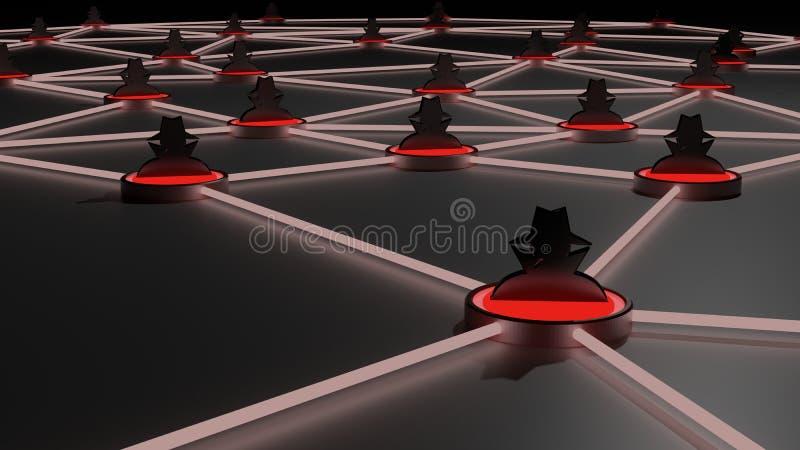 Rede incerta do chapéu negro do cybersecurity da rede ilustração stock