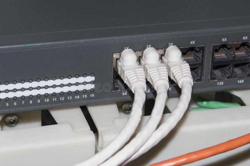 Rede informática da tecnologia da informação, cabos ethernet da telecomunicação imagem de stock