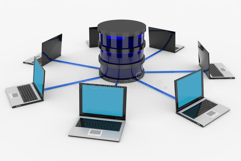 Rede informática e base de dados abstratas. Conceito. ilustração do vetor