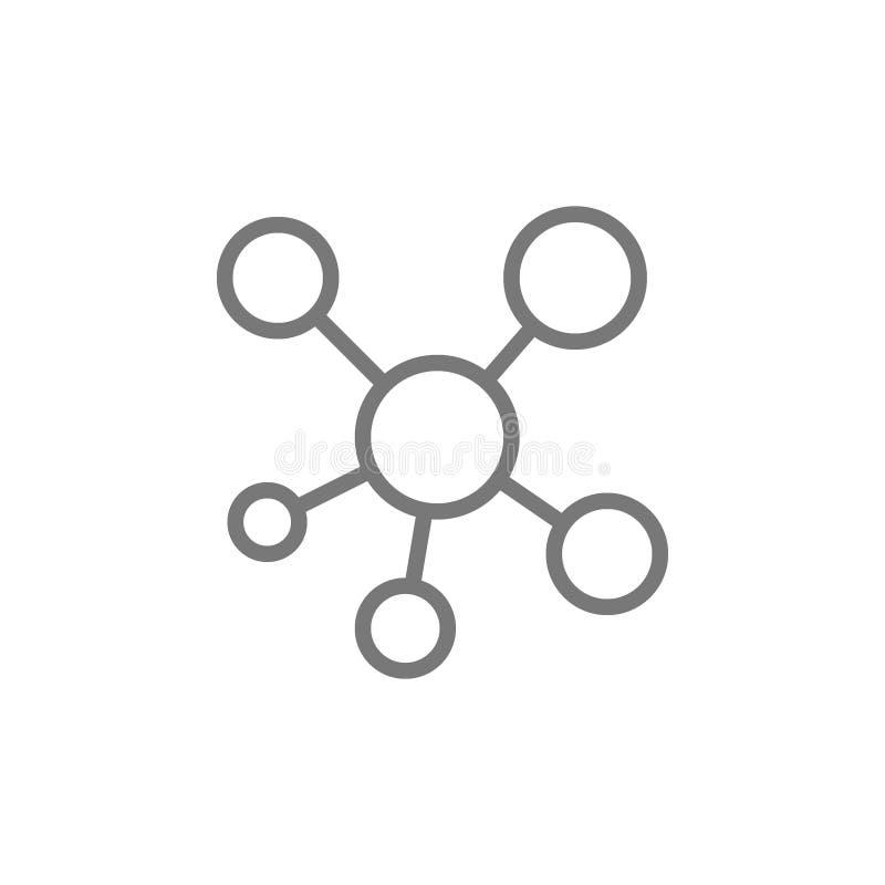 Rede, linha ?cone da conex?o do cubo ilustração do vetor