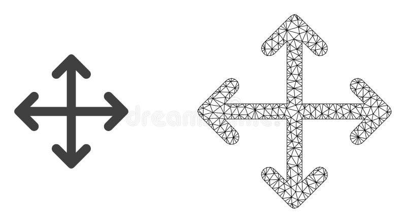 Rede Mesh Expand Arrows do vetor e ícone liso ilustração do vetor