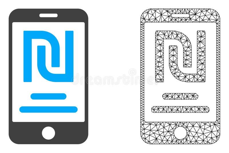 Rede Mesh Shekel Mobile Account do vetor e ícone liso ilustração royalty free