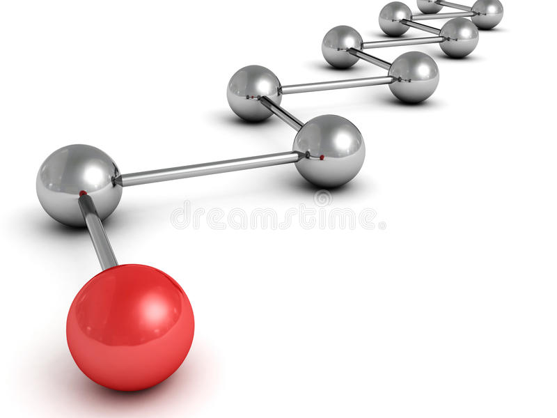 Rede metálica da esfera do conceito com a bola vermelha do líder ilustração stock