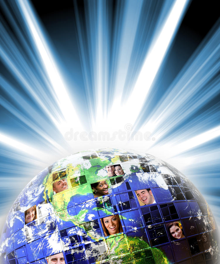 Rede mundial global dos povos fotografia de stock