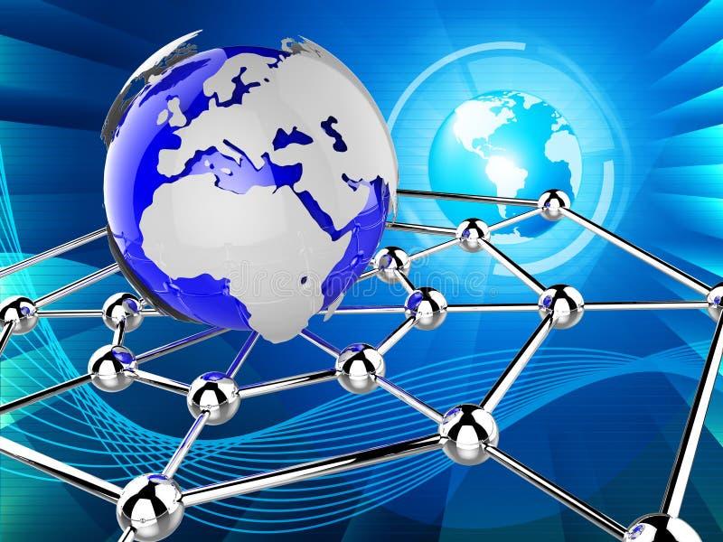 A rede mundial indica comunicações globais e Communicat ilustração stock