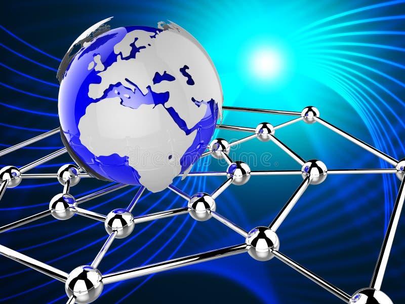 A rede mundial representa comunicações globais e o computador ilustração stock