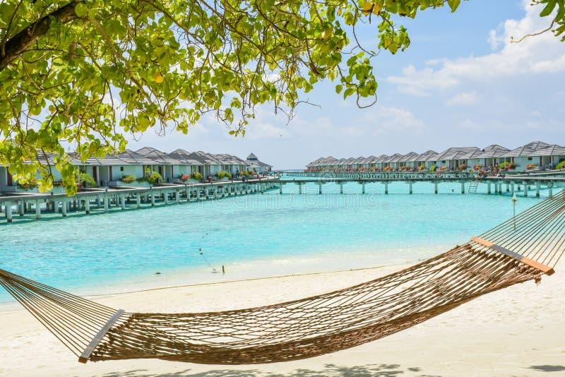 Rede na praia tropical com as casas de campo excedentes da água no recurso foto de stock