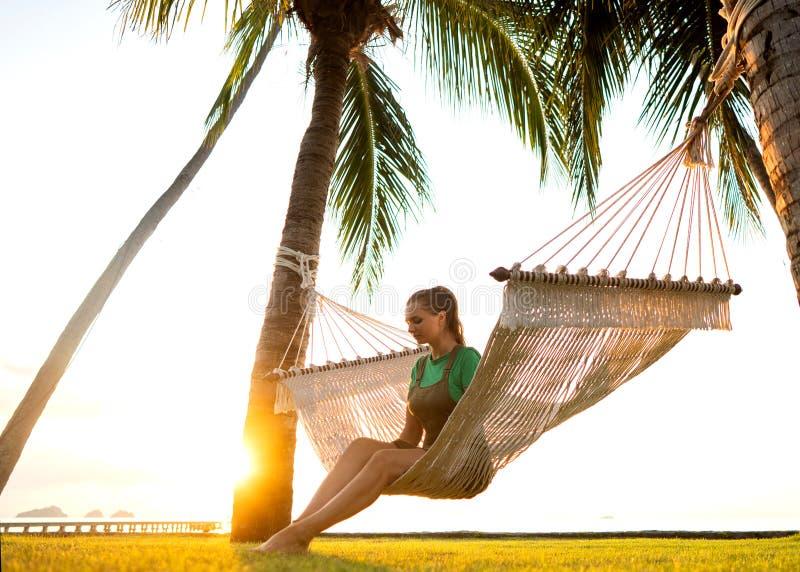 Rede nas palmeiras tropicais que negligenciam as montanhas fotografia de stock