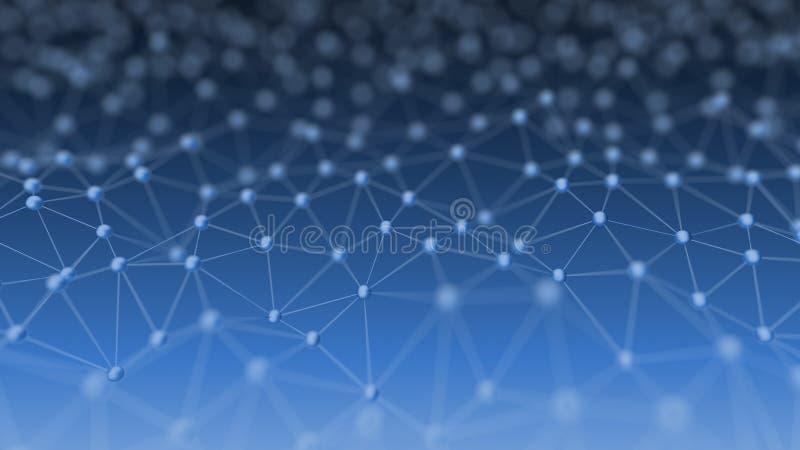Rede neural abstrata na ilustração azul do fundo 3d ilustração royalty free