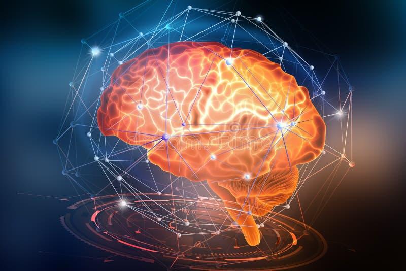 Rede neural artificial Inteligência de computador baseada nas pilhas de nervo do cérebro humano Conceito de projeto moderno no as ilustração stock