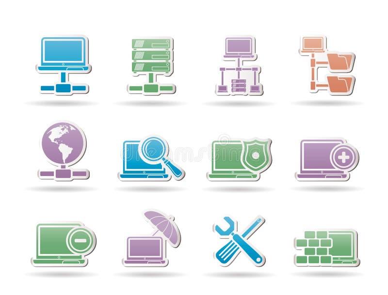 Rede, objetos do server e do acolhimento ilustração royalty free