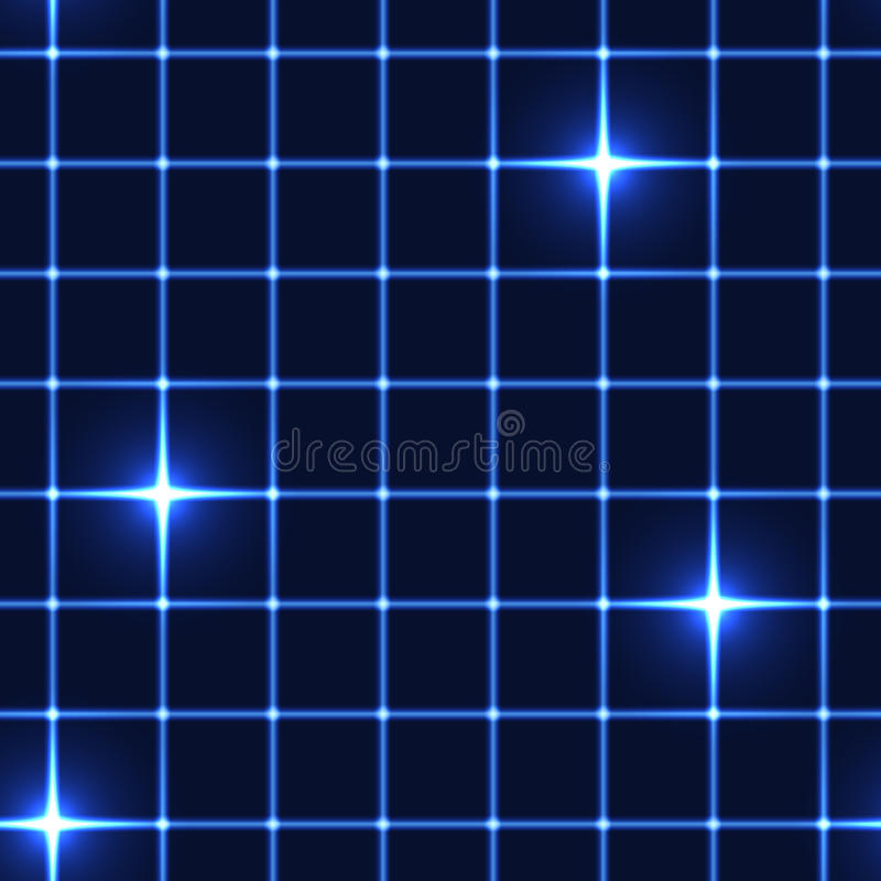 Rede ou grade azul com estrelas shinning - fundo sem emenda ilustração royalty free