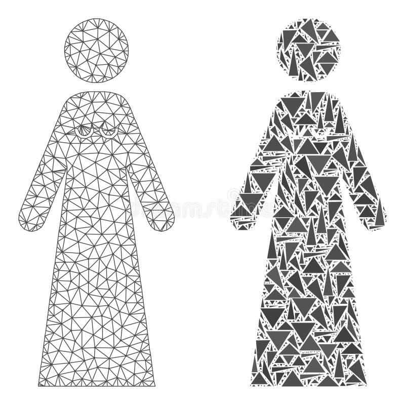 Rede poligonal Mesh Bride e ícone do mosaico ilustração do vetor