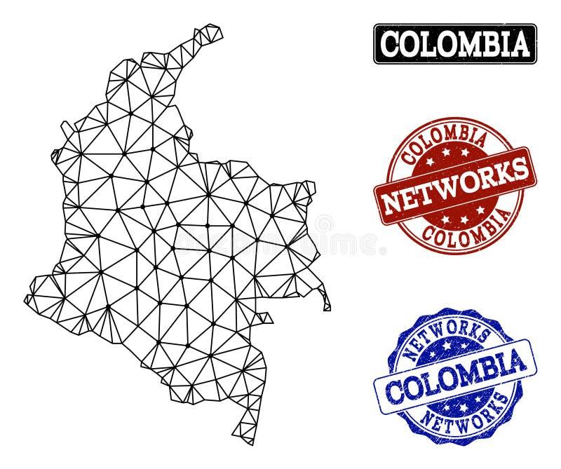 Rede poligonal Mesh Vetora Map de selos do Grunge de Colômbia e de rede ilustração royalty free