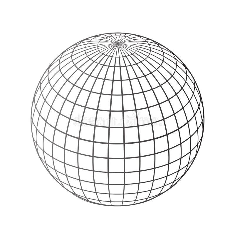 Rede preta dos globos do mundo - vetor ilustração stock