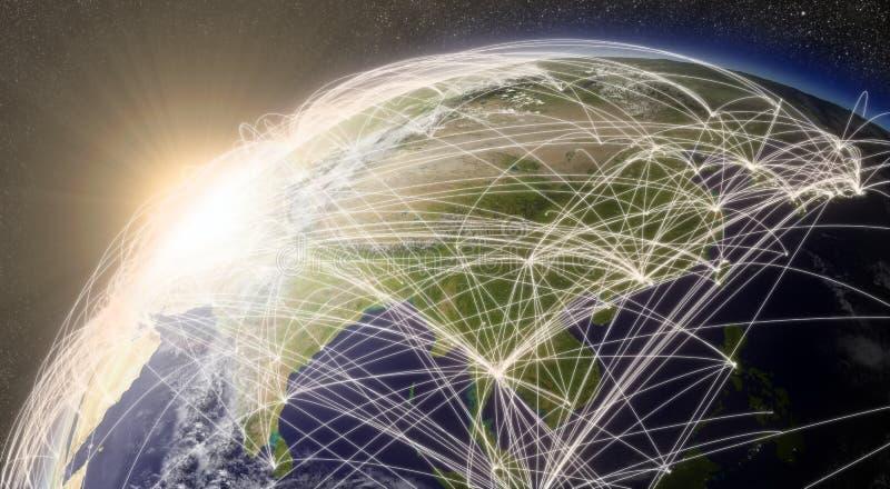 Rede sobre Ásia Oriental ilustração do vetor