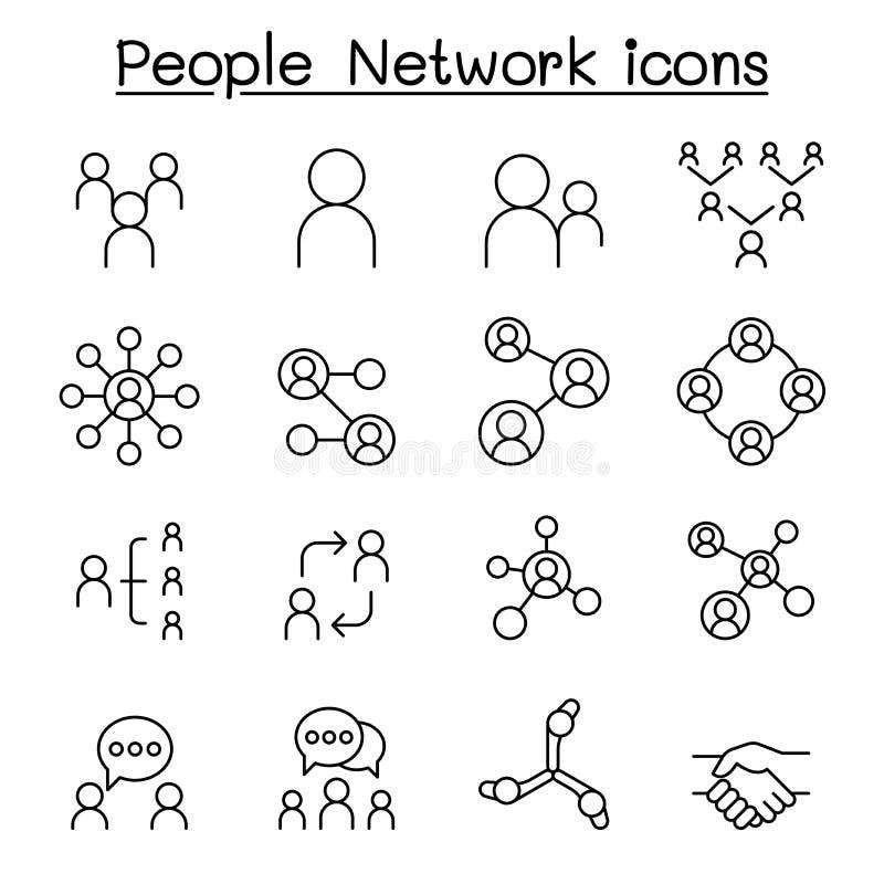 Rede social, ícone de rede Pessoas definido no estilo de linha fina ilustração royalty free