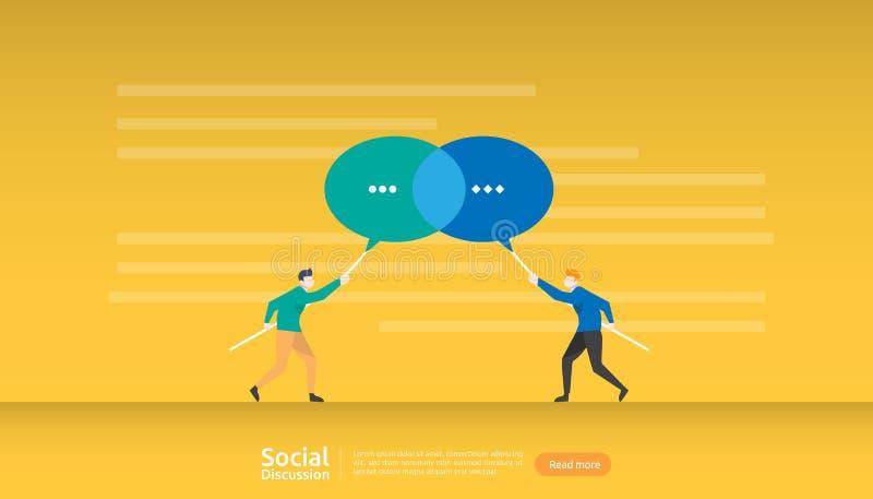 rede social da conversação dos meios Caráter dos povos de uma comunicação das bolhas do diálogo do bate-papo a comunidade que con ilustração stock