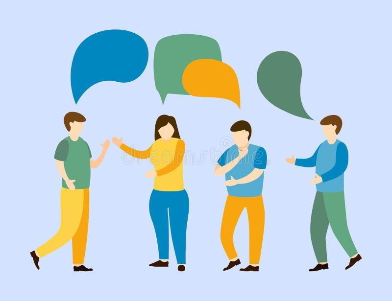 Rede social da discussão do negócio com bolhas do diálogo ilustração stock
