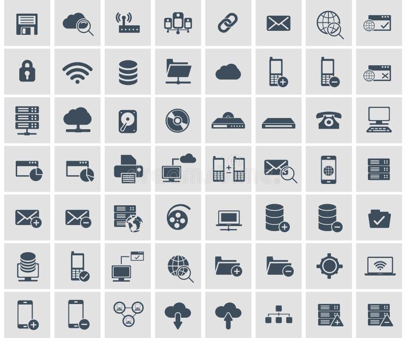 Rede social, dados analíticos, móbil e grupo do ícone da aplicação web Vetor liso ilustração do vetor