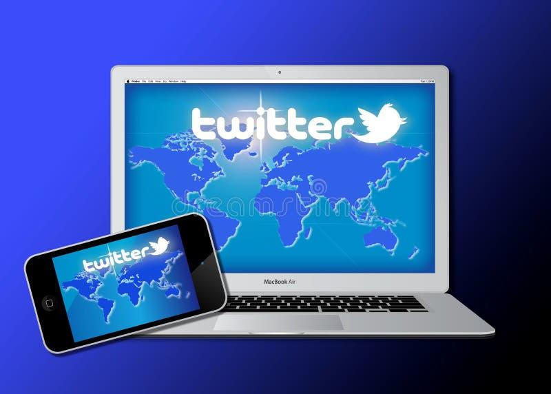Rede social do Twitter no equipamento móvel